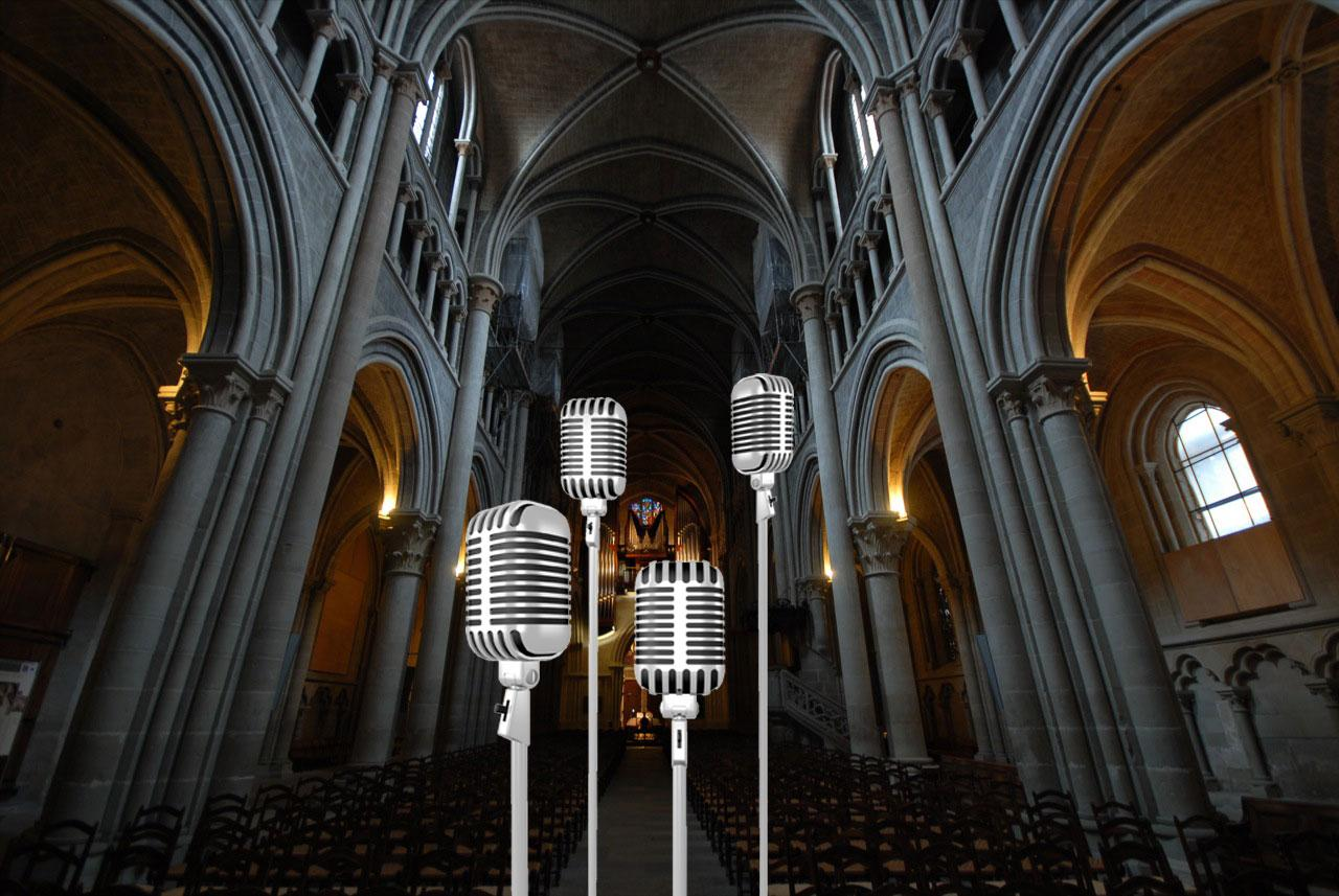 The scientists tried to model the Lausanne Cathedral using only four microphones (photomontage).