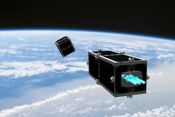 CleanSpace One is chasing its target, one of the CubeSats launched by Switzerland in 2009 (Swisscube-1) or 2010 (TIsat-1)