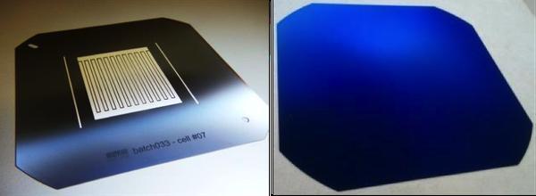 Arrière de la cellule solaire (sur une plaquette de silicium plus grande), avec les contacts positifs et négatifs. Avant de la cellule sans aucun ombrage.