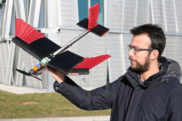 Stefano Mintchev with feathered drone